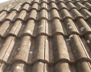 Roof tiles with moss removed