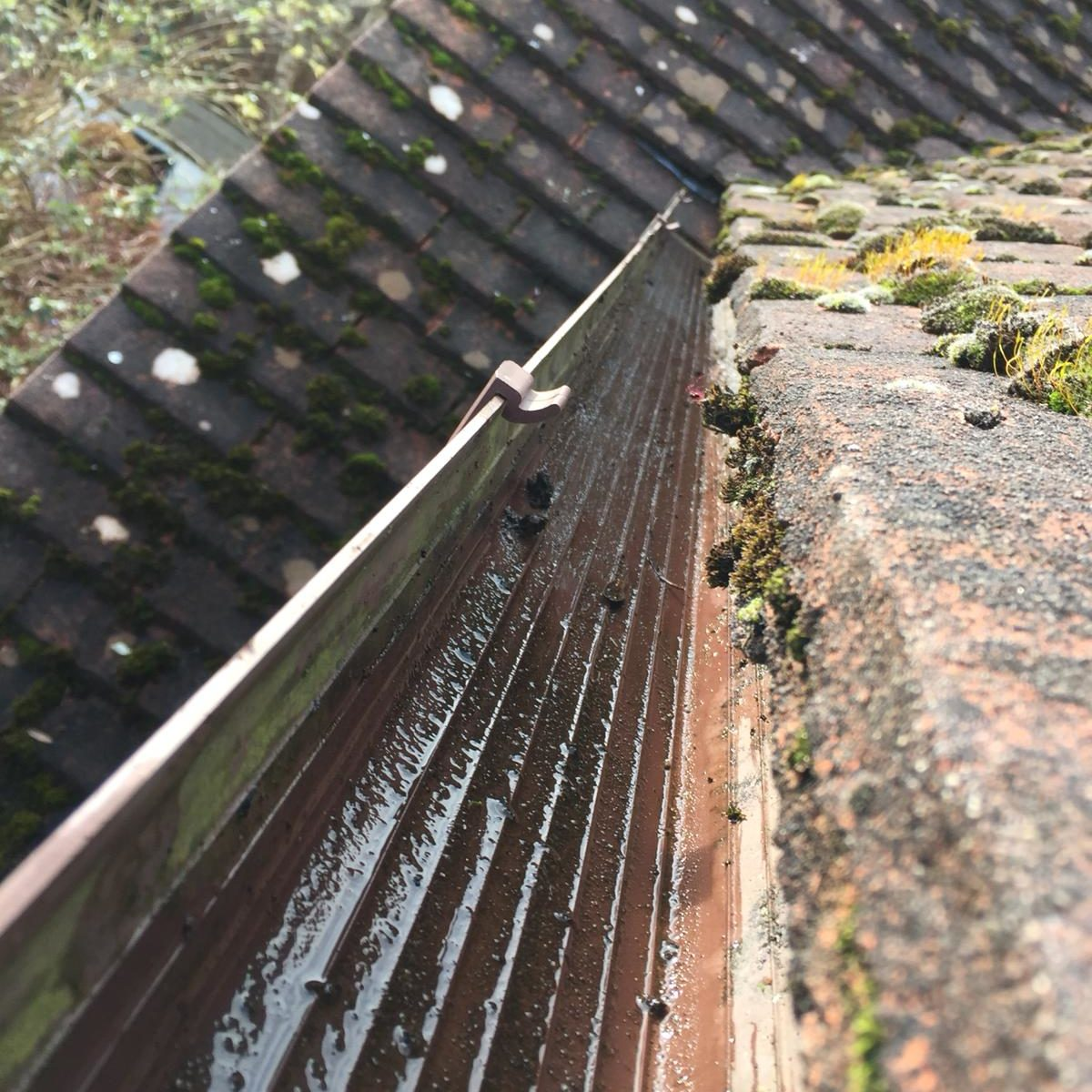 House gutters clear of moss and debris